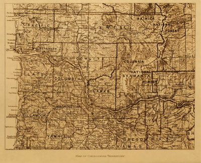 Title: Map of Chinook Territory , Date: 1910 , Size: Volume, 9.5 x 12.5 inches , Medium: Vintage Photogravure , Edition: Vintage