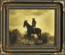 Title: The Scout - Apache , Date: c. 1904 , Size: 11 x 14 inches , Medium: Vintage Goldtone , Signed: L/R