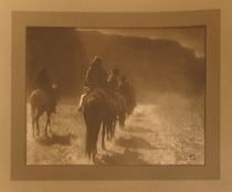 Title: Vanishing Race - Navaho , Date: 1904 , Size: 6 x 8 inches , Medium: Vintage Silver Border , Signed: Signed