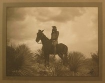 Title: The Scout - Apache , Date: 1906 , Size: 6 x 8 inches , Medium: Vintage Silver Border , Signed: L/R