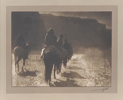 Title: Vanishing Race - Navaho , Date: 1904 , Size: 5 3/4 x 7 1/2 inches , Medium: Vintage silver gelatin border print , Signed: L/R