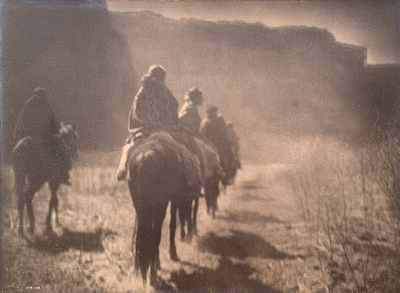 Title: Vanishing Race - Navaho , Date: 1904 , Size: 14 3/4 x 20 9/16 inches , Medium: Vintage Platinum Print , Signed: L/R