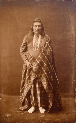 Title: Unpublished Typical Nez Perce , Date: 1899 , Size: 16 3/8 x 9 15/16 inches , Medium: Printing Out Print , Signed: L/L