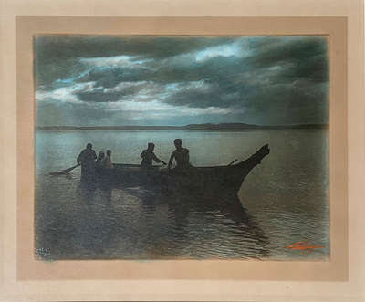 Title: Homeward , Date: 1899 , Size: 5 5/8 x 7 9/16 inches , Medium: Vintage Hand-toned silver border print , Signed: L/R