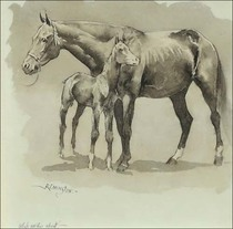 Title: Mare and Colt , Date: 1890 , Size: 9 x 8.75 inches , Medium: Ink and ink wash , Signed: L/L , Edition: Original