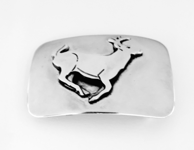 Title: Buckle: Deer Rectangle , Size: 1 1/4 inches , Medium: Sterling Silver
