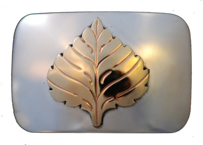 Hayes Silver and Goldsmithing - Belt Buckle: Aspen Leaf 14k Gold