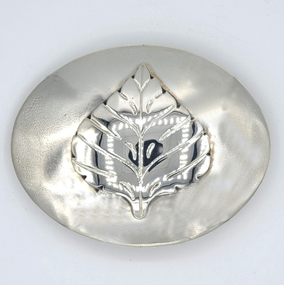 Title: Buckle: Oval Aspen Leaf , Size: 1 1/2 inches , Medium: Sterling Silver