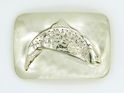Title: Buckle: Square Trout Buckle , Size: 1 1/4 inches , Medium: Sterling Silver
