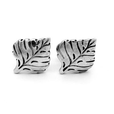 Title: Cufflinks: Aspen Leaf #3 , Size: Small , Medium: Sterling Silver , Signed: Signed