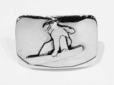 Title: Buckle: 1 1/4 Rectangular Snowboarder , Size: 1 1/4 , Medium: Sterling Silver , Signed: Signed