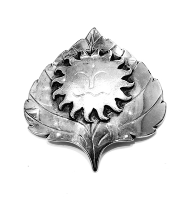 Title: Pin: #9 Aspen Leaf w/Sun , Size: #9 , Medium: Sterling Silver , Signed: Signed