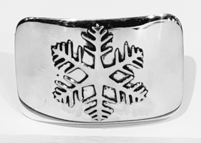 Title: Buckle: 1 1/4 Rectangular Snowflake , Size: 1 1/4 inch , Medium: Sterling Silver , Signed: Signed