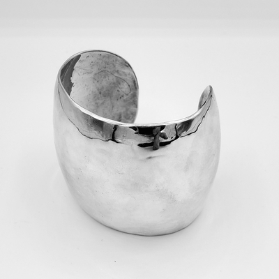 Title: Bracelet: XL Cuff convex , Size: 2 3/8 inches , Medium: Sterling Silver , Signed: Signed
