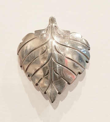 Title: Pin: #5 Aspen Leaf , Size: #5 , Medium: Sterling Silver , Signed: Signed