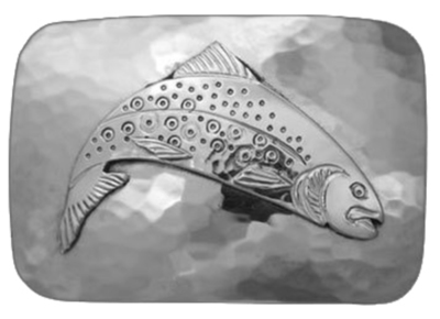 Title: Belt Buckle: Oval Trout TD HM (Rect. Pictured) , Size: 1 1/4 inches , Medium: Sterling Silver , Signed: Signed