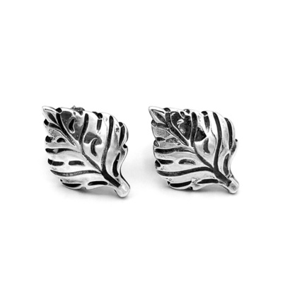 Title: Earrings Aspen Leaf #3 (Post) , Size: Medium , Medium: Sterling Silver , Signed: Signed