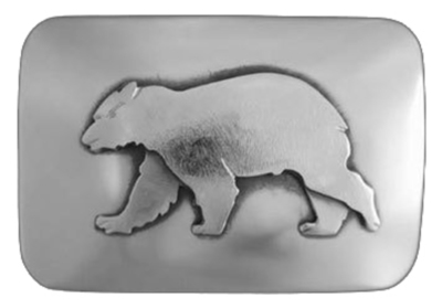 Title: Belt Buckle: REC Bear , Size: 1 1/4 inches , Medium: Sterling Silver , Signed: Signed