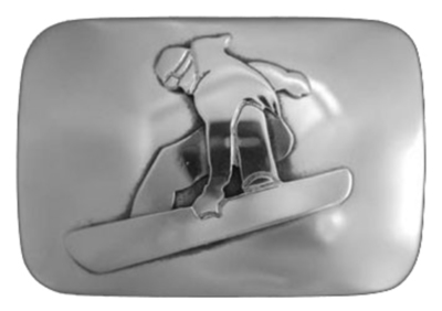Title: Buckle: REC Snowboarder , Size: 1 1/4 inches , Medium: Sterling Silver , Signed: Signed