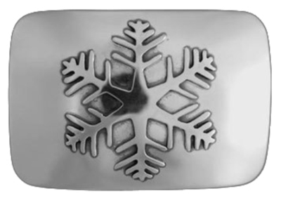 Title: Buckle: REC Snowflake , Size: 1 1/4 inches , Medium: Sterling Silver , Signed: Signed
