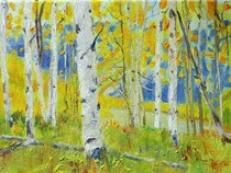 Title: Castle Creek Aspen Stand , Size: 9 x 12 inches , Medium: Oil on Canvas , Signed: Signed
