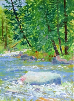 Title: Afternoon on the Roaring Fork , Size: 12 x 9 inches , Medium: Oil on Canvas , Signed: Signed