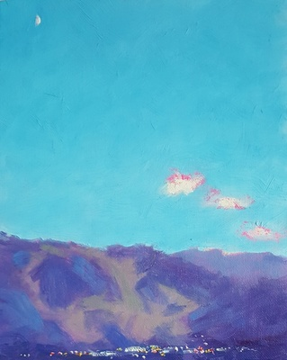 Title: Aspen Mountain from Red Mountain , Size: 10 x 8 inches , Medium: Oil on Canvas , Signed: Signed