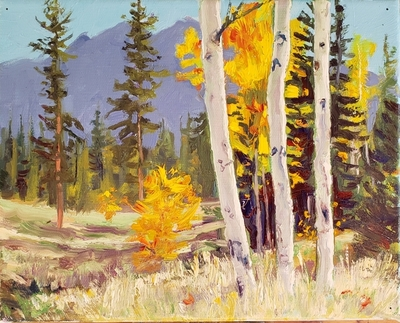 Title: Three Young Aspens , Size: 8 x 10 inches , Signed: Signed
