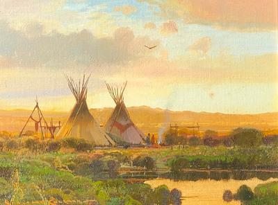 Title: Horse Camp , Size: 9 x 12 inches , Medium: Oil on Panel , Signed: Signed
