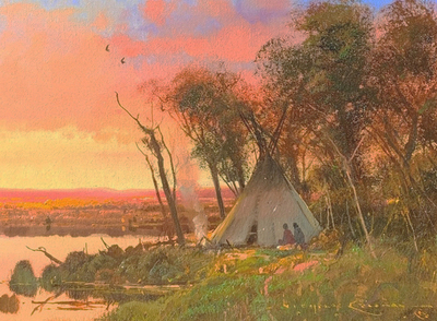 Title: Riverbottom Camp , Size: 9 x 12 inches , Medium: Oil on Panel , Signed: Signed
