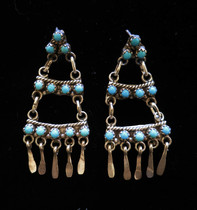 Title: Earrings: Three Tier Sterling and Turquoise , Size: 2 x 1 inches , Medium: Sterling Silver , Edition: Vintage
