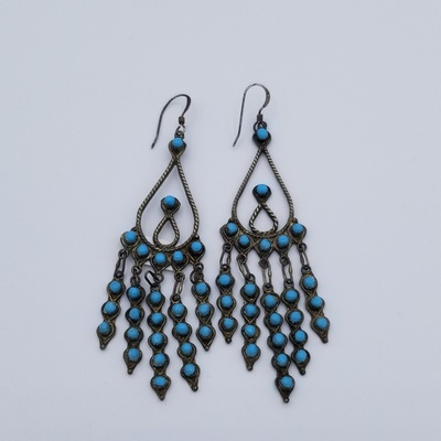 Title: Earrings: Delicate Silver and Turquoise Teardrops with Dangles , Size: 3 x 1 inches , Medium: Sterling Silver , Edition: Vintage