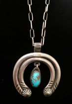 Title: Necklace: Large and Heavy Silver and Turquoise Naja Pendant , Size: 28