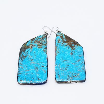 Title: Earrings: Medium Kingman Slab with Silver Backing , Medium: Sterling Silver , Edition: Vintage