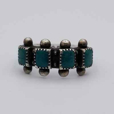 Title: Ring: Vintage Four Square Stone Zuni , Size: 6 1/2 , Medium: Sterling Silver , Edition: Vintage
