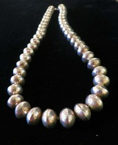Title: Necklace Navaho Sterling Silver Beads , Size: 26 inches , Medium: Sterling Silver