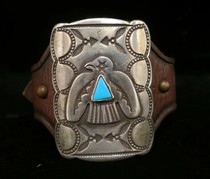 Title: Bracelet: Small Silver and Turquoise Thunderbird Ketoh , Size: 2 3/8 x 1 3/4 Buckle , Medium: Sterling Silver , Edition: Vintage