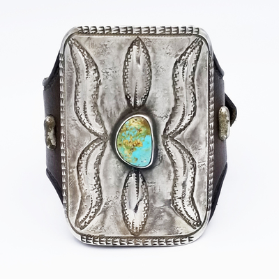 Title: Bracelet: Classic Navajo Ketoh Design with Sterling and Turquoise , Size: 3 1/8 x 2 1/4 buckle , Medium: Sterling Silver , Edition: Vintage