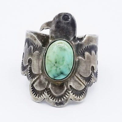 Title: Ring: Men's Thunderbird with Turquoise Stone , Size: 8 , Medium: Sterling Silver , Edition: Vintage