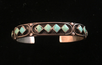 Title: Bracelet: Gorgeous Cuff with Diamond Shaped Stones , Medium: Sterling Silver , Edition: Vintage