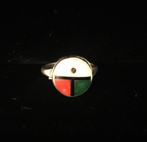 Title: Ring: Small Zuni Inlay Zia Sun with Silver, Jet, and Coral , Size: 3 , Medium: Sterling Silver , Edition: Vintage