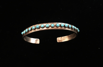 Title: Bracelet: Zuni Multi Stone Cuff Stamped , Medium: Sterling Silver , Edition: Vintage