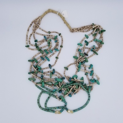 Title: Necklace:  Santo Domingo Heishe and Turquoise Necklace with Matching Jaclas , Date: c 1920 , Size: 24 inches , Medium: Sterling Silver , Edition: Vintage