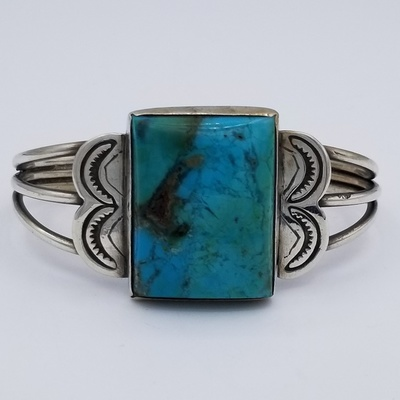 Title: Bracelet:  Vintage Navajo Silver and Chrysocolia , Date: 1920's , Medium: Sterling Silver , Edition: Vintage