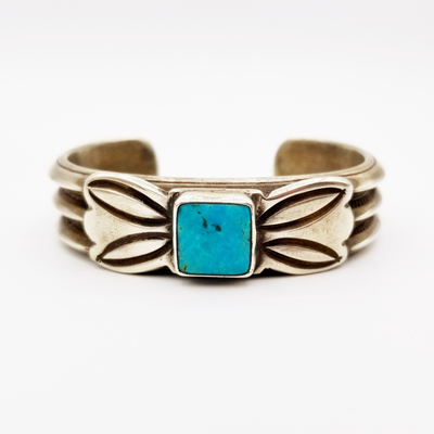 Title: Bracelet: Classic Silver Ingot and Turquoise , Medium: Sterling Silver , Edition: Vintage