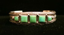 Title: Bracelet:  Vintage Navajo Silver and 5 Square Green Turquoise , Medium: Sterling Silver , Edition: Vintage