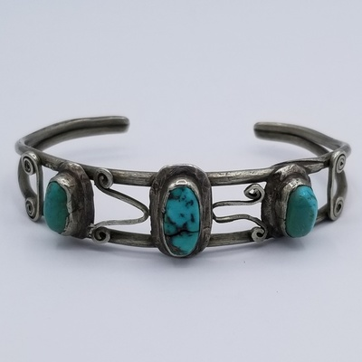 Title: Bracelet:  Very Early Vintage Isleta Silver and Turquoise , Date: c 1910 , Medium: Sterling Silver , Edition: Vintage