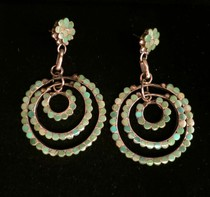Title: Earrings:  Vintage Style Dishta Round with Green Turquoise , Medium: Sterling Silver , Edition: Vintage