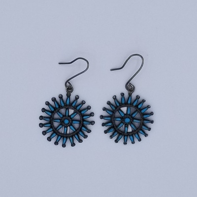 Title: Earrings:  Vintage Zuni Style Silver and Turquoise Round Cluster Earrings , Medium: Sterling Silver , Edition: Vintage