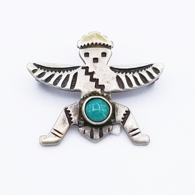 Title: Pin:  Vintage Navajo Silver and Turquoise Thunderbird , Medium: Sterling Silver , Edition: Vintage